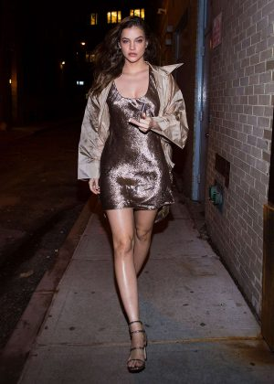 Barbara Palvin in Mini Dress in Tribeca in New York City