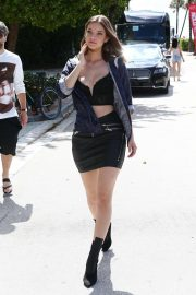 Barbara Palvin in Mini Skirt - Leaving Her Hotel in Miami