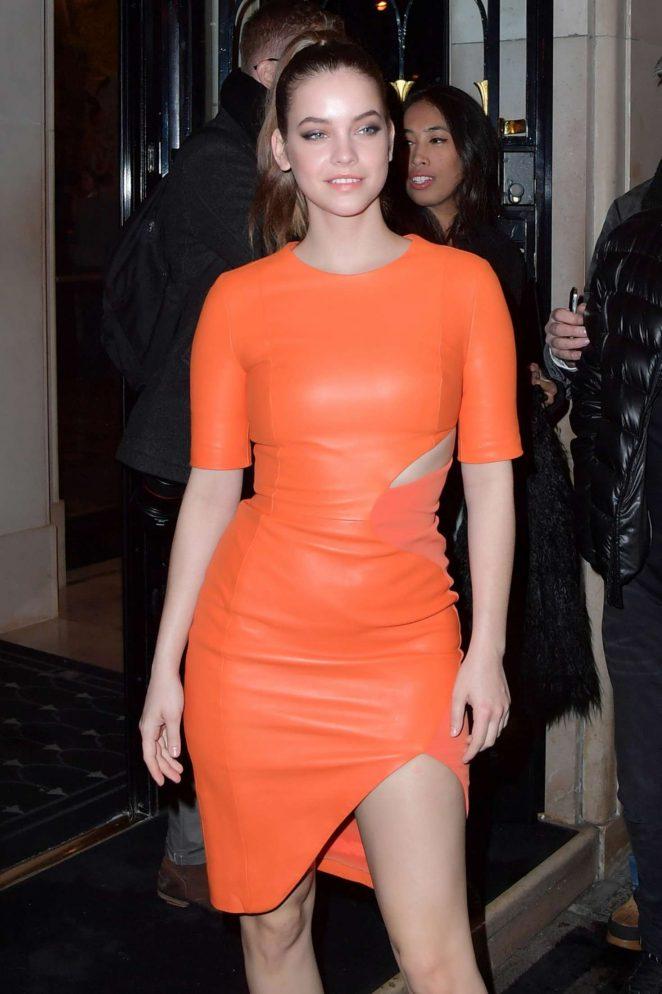 Barbara Palvin in Orange Leather Dress in Paris