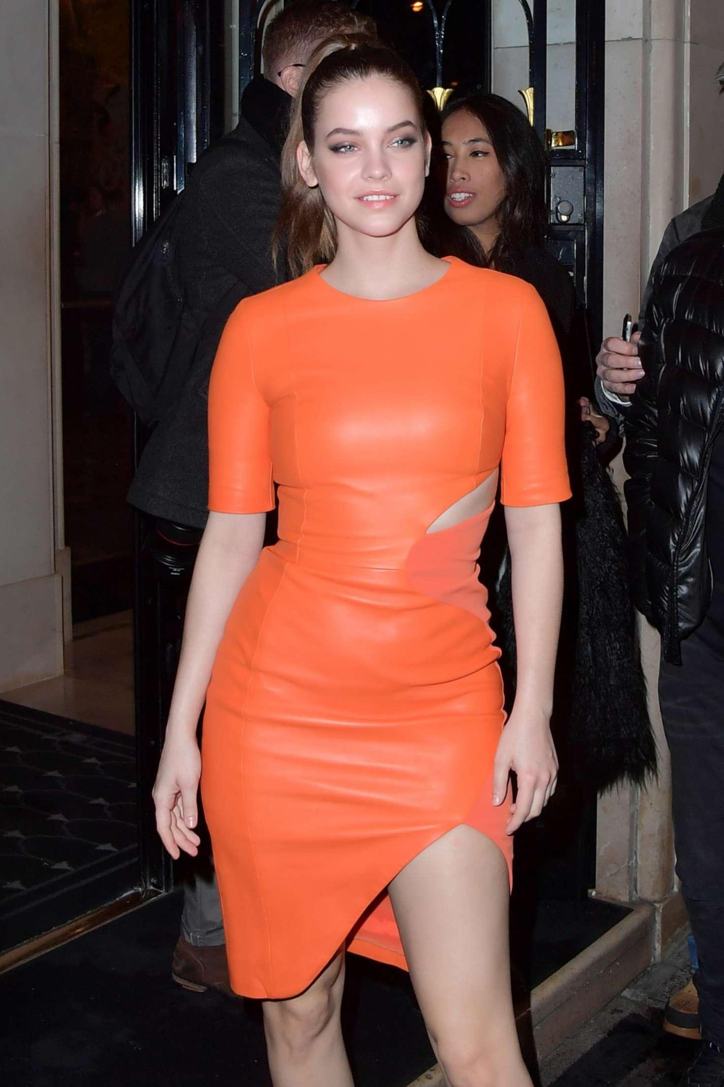 Barbara Palvin In Orange Leather Dress In Paris Gotceleb