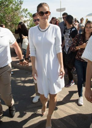 Barbara Palvin in White Dress out in Cannes
