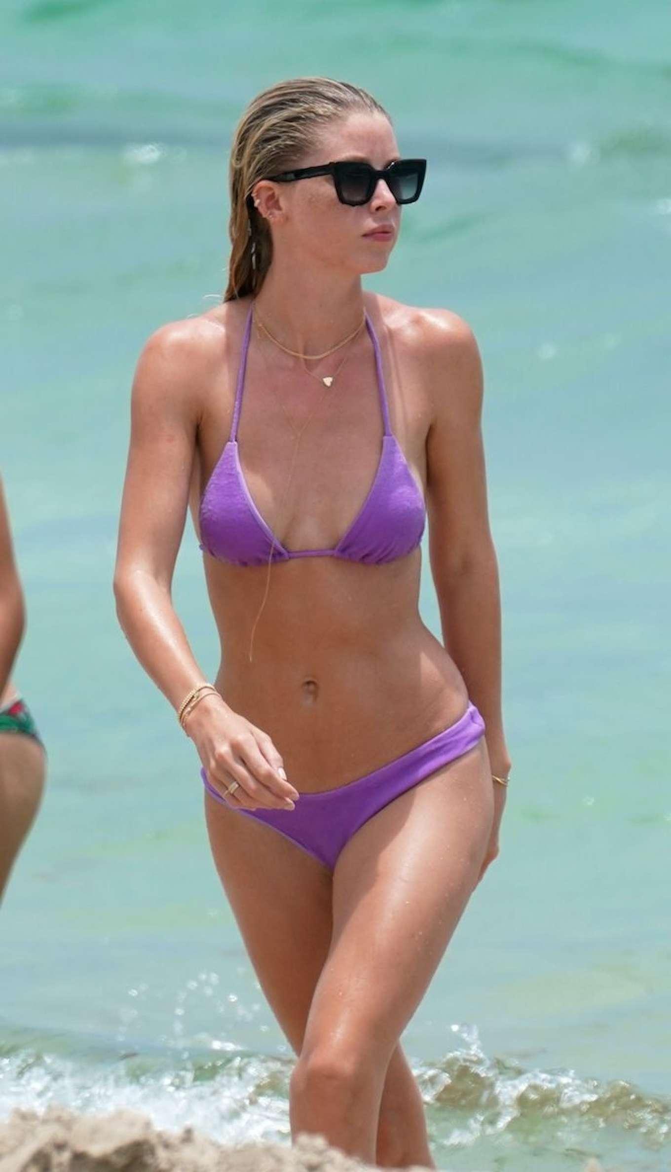 Baskin Champion in Purple Bikini at the beach in Miami
