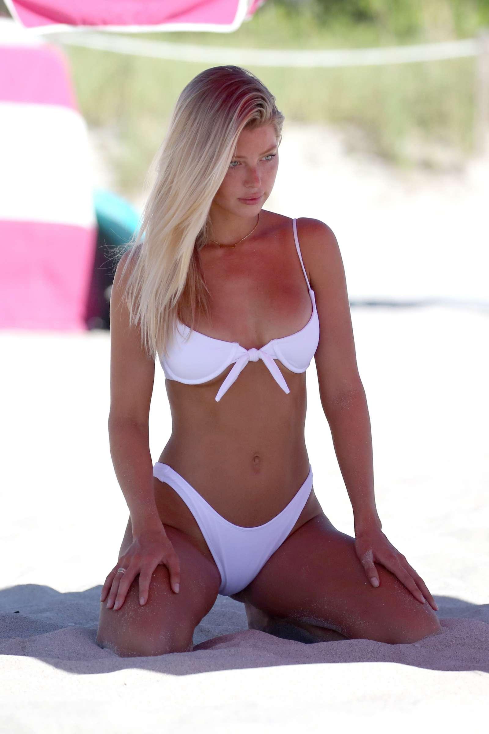 Baskin Champion in White Bikini on Miami Beach