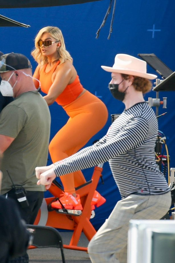 Bebe Rexha - Filming an ad for a new JBL headgear in Los Angeles