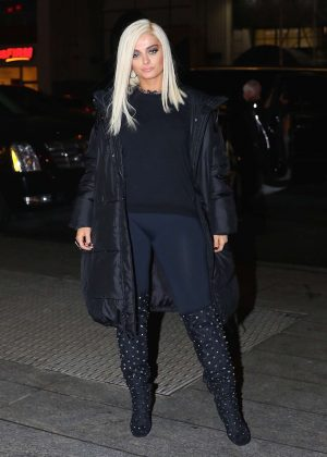 Bebe Rexha in Black - Arriving to Nobu for dinner in NYC