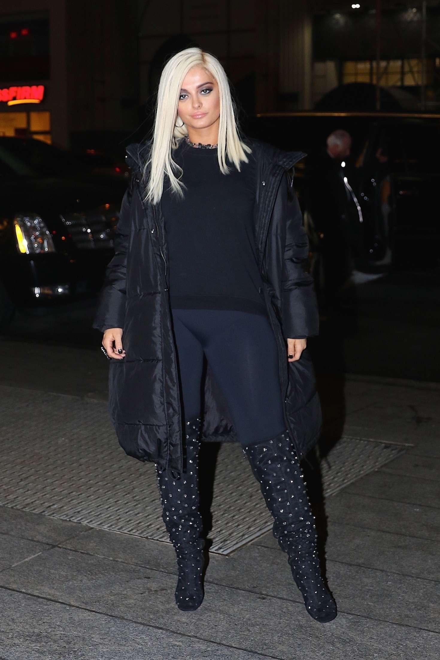 Bebe Rexha In Black Arriving To Nobu For Dinner In Nyc