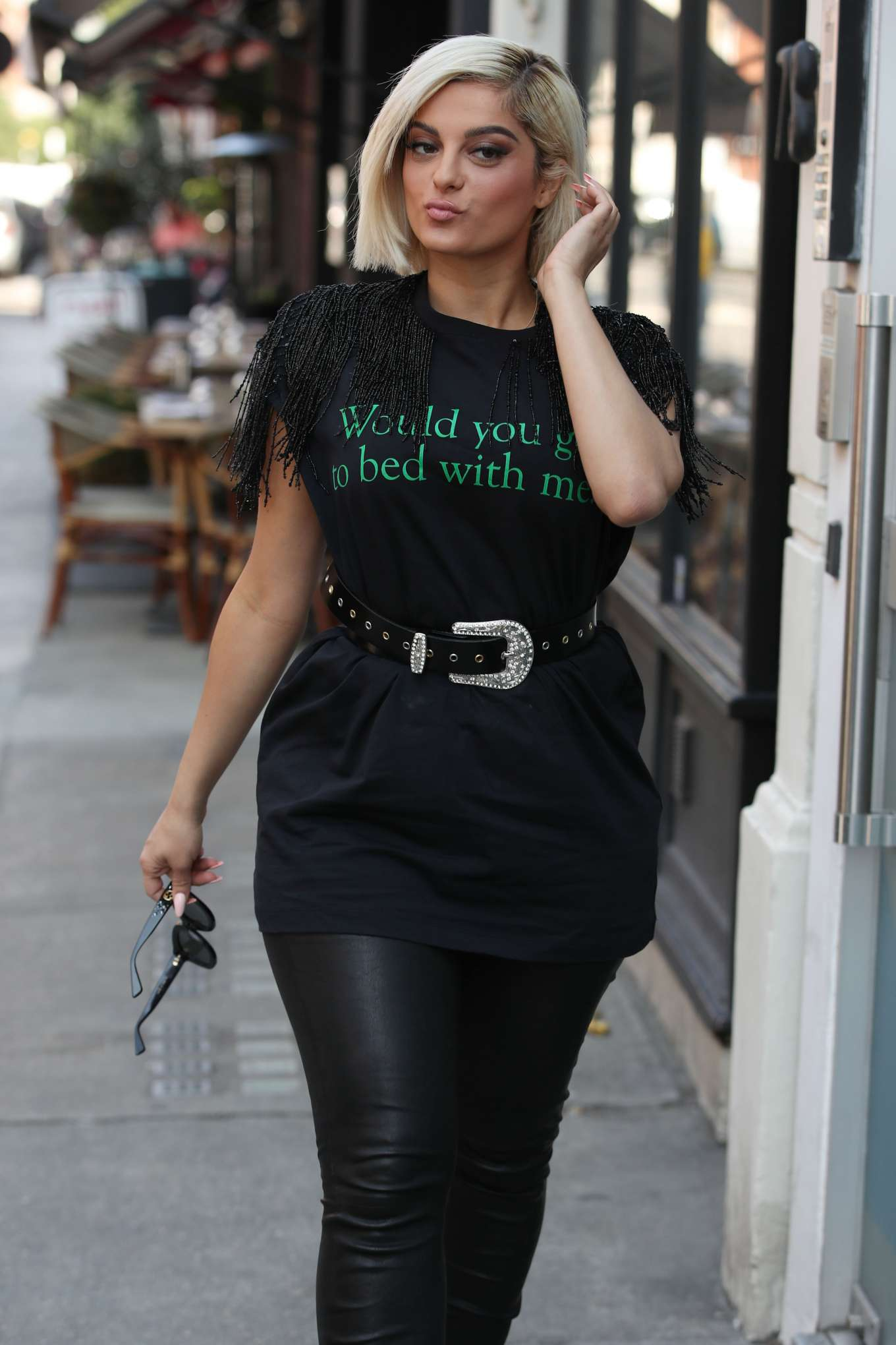 Bebe Rexha in Leather Pants - Out in London