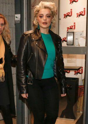 Bebe Rexha - Visited Voltage FM at NRJ radio studios in Paris