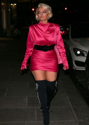 Bebe Rexhain Pink Mini Dress - Heading at Sketch in London