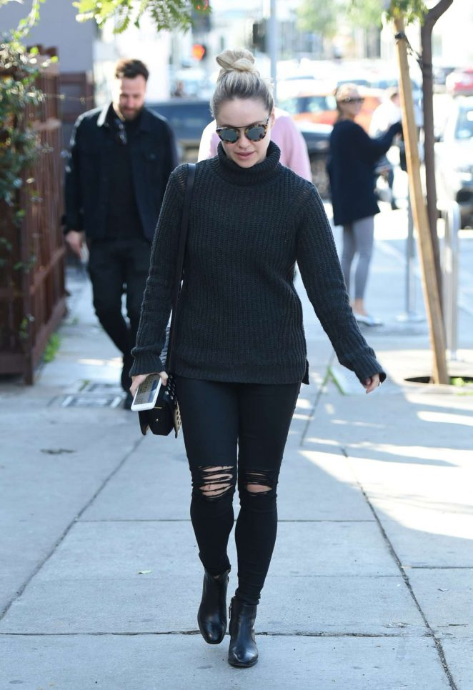 Becca Tobin in black ripped jeans in Los Angeles