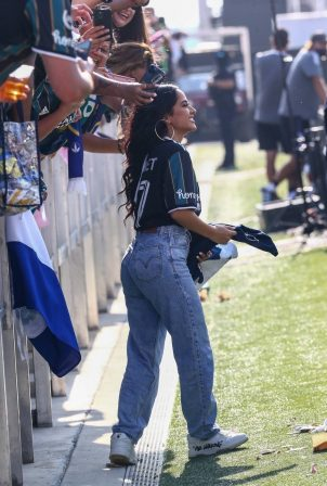 Becky G - Arrives at boyfriend Sebastian Lletget of the LA Galaxy's game in Miami