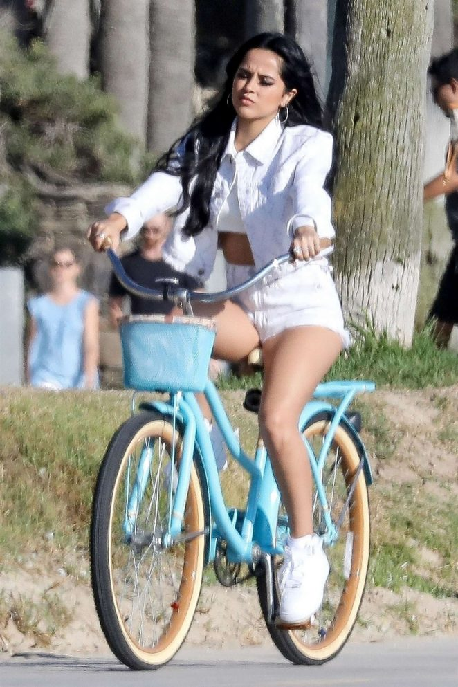 Becky G - Filming a bike ride scene for an upcoming music video in Venice Beach
