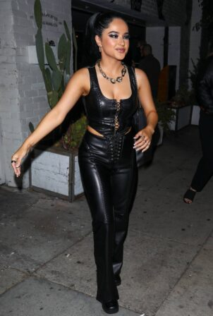 Becky G - In an all-leather outfit outside Christina Aguilera's party in Los Angeles