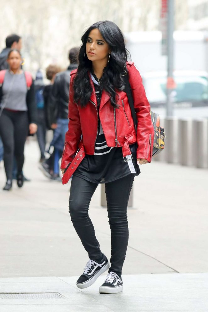 Becky G in Red Leather Jacket out in New York City