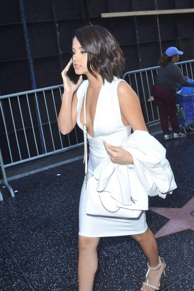 Becky G in White Dress Out in Los Angeles