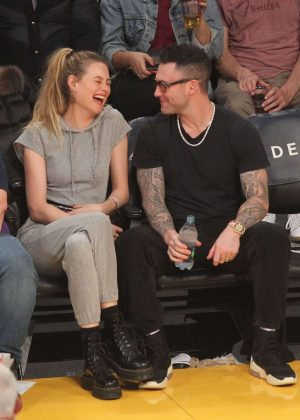 Behati Prinsloo and Adam Levine at the Lakers Game in LA