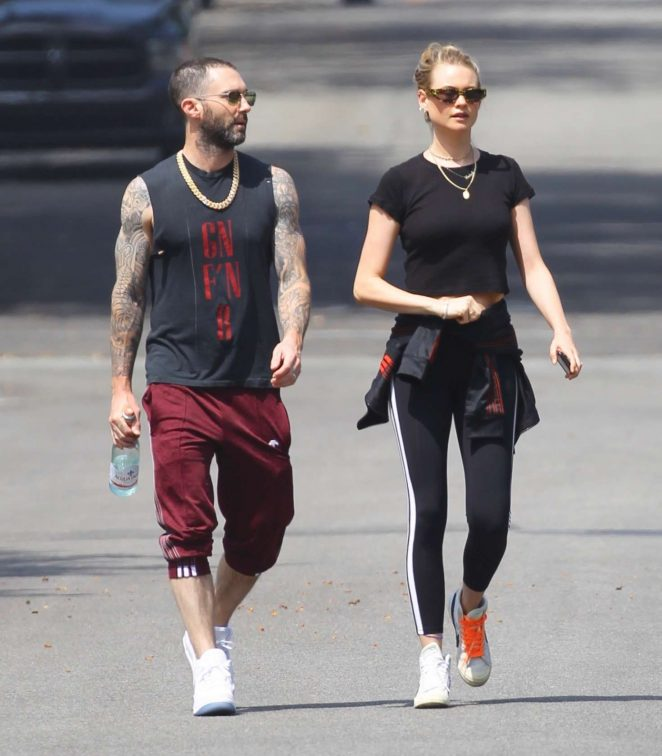 Behati Prinsloo and Adam Levine - Heads to morning Pilates workout in Studio City