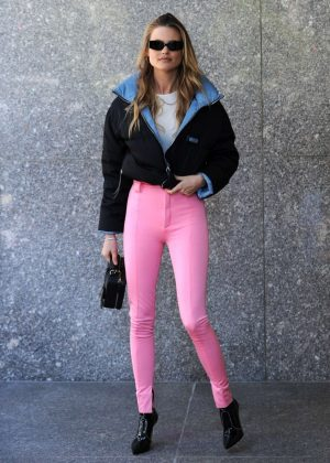 Behati Prinsloo - Arriving at the Victoria's Secret offices for fittings in NY