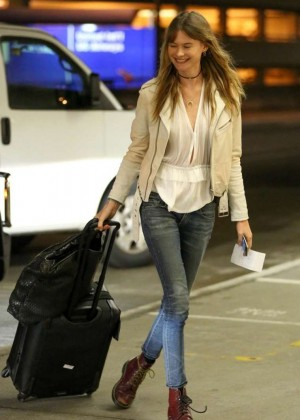 Behati Prinsloo in Jeans at LAX Airport in LA