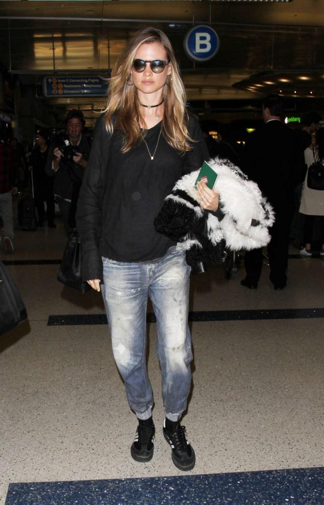 Behati Prinsloo in Jeans at LAX Airport in Los Angeles