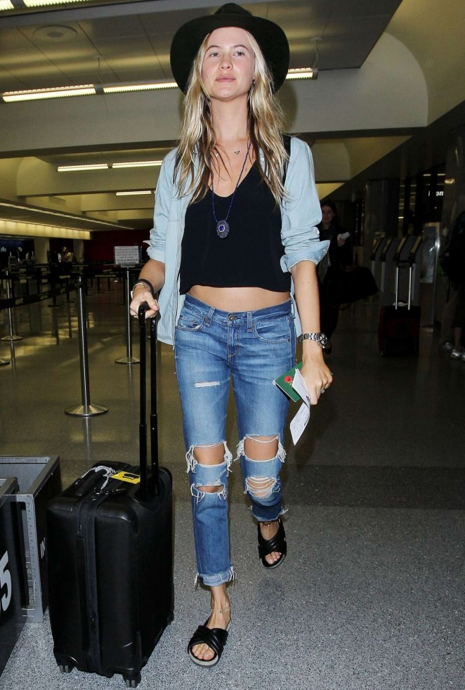 Behati Prinsloo in Jeans at LAX Airport in Los Angeles