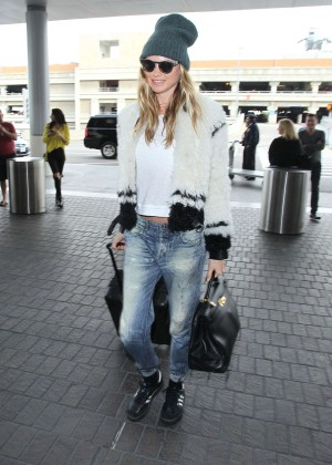 Behati Prinsloo in jeans LAX Airport in Los Angeles