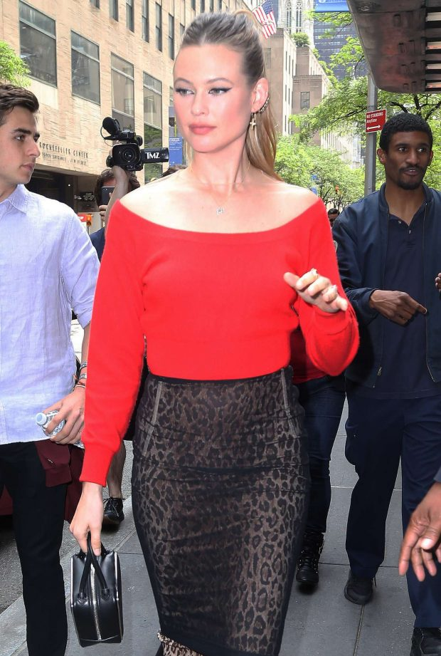 Behati Prinsloo in Red Top - Out in NYC