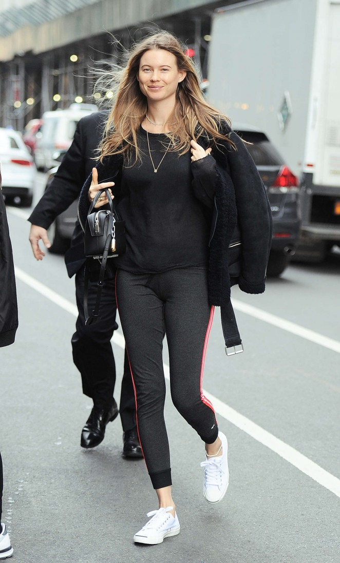 Behati Prinsloo in Tights out in NYC
