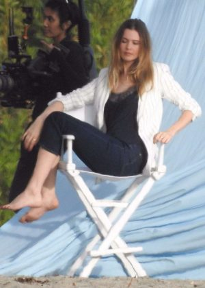 Behati Prinsloo - On the set of a photoshoot in Malibu