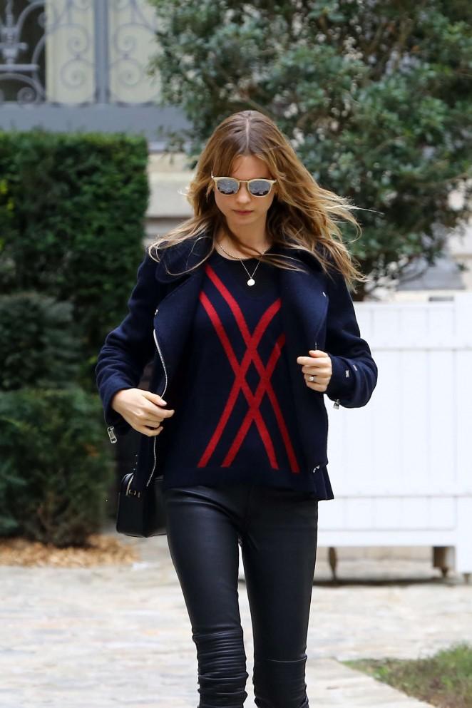 Behati Prinsloo in Leather Pants Out in Paris