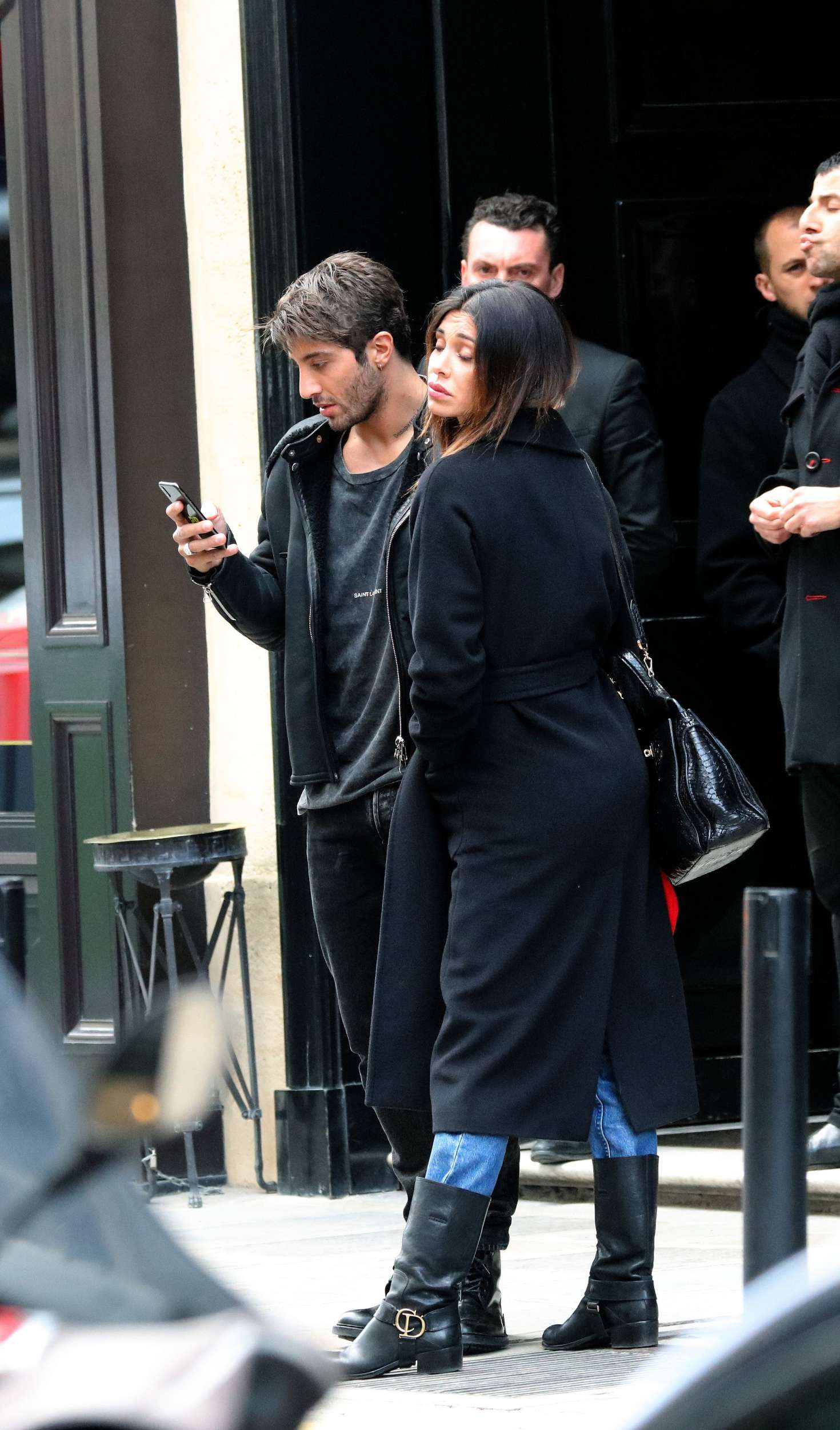 Belen Rodriguez and Andrea Lannone - Leaving their hotel in Paris