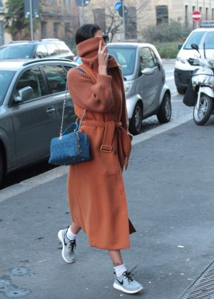 Belen Rodriguez in Long Coat out in Milan