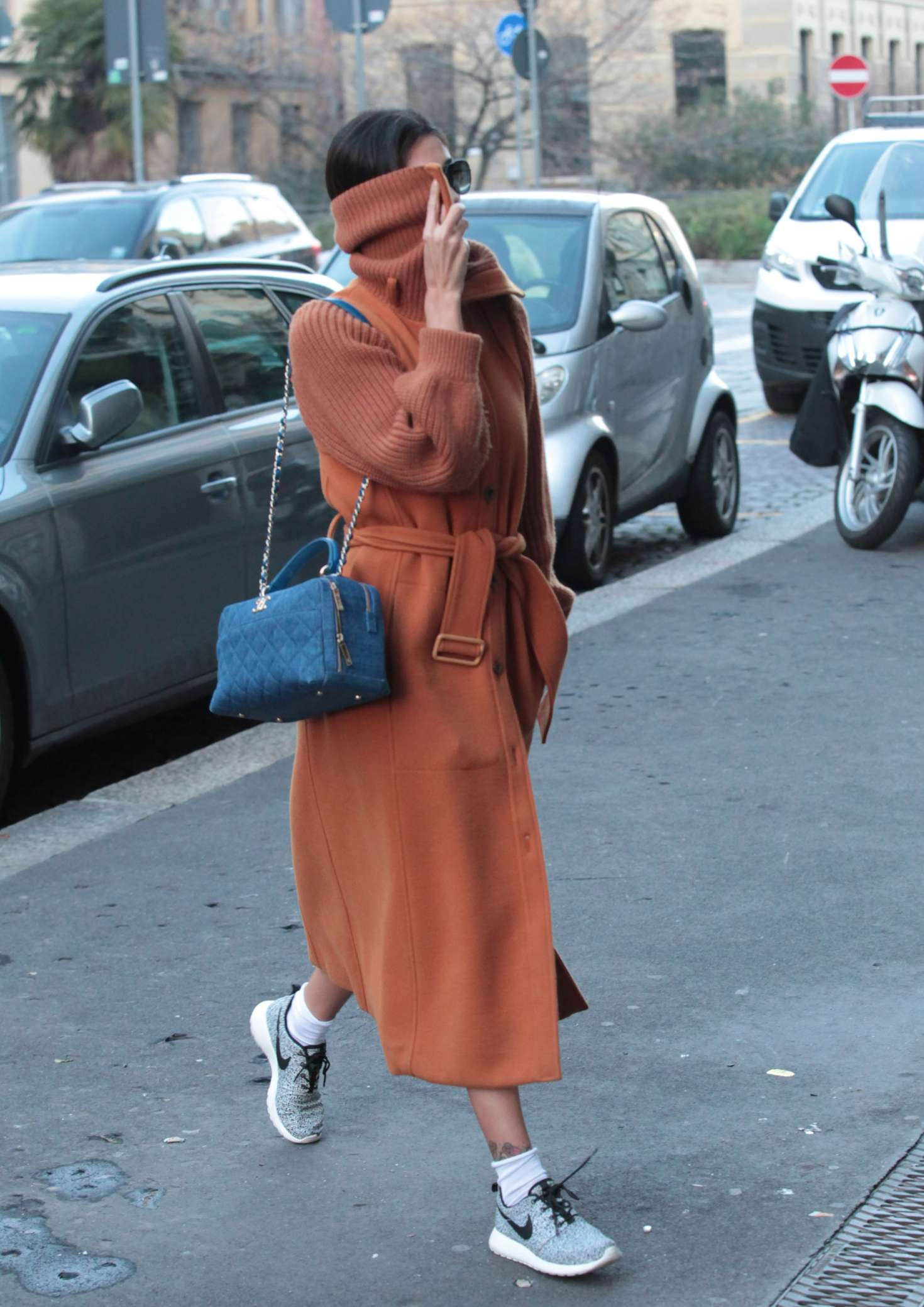 Belen Rodriguez in Long Coat out in Milan