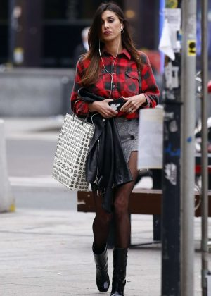Belen Rodriguez in Mini Skirt out in Milan