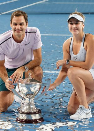 Belinda Bencic and Roger Federer - 2018 Hopman Cup mixed Teams Tennis Tournament in Perth