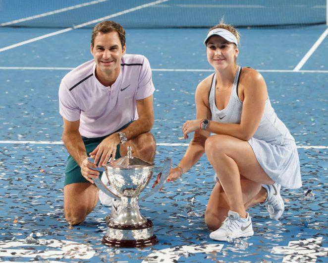 Belinda Bencic and Roger Federer - 2018 Hopman Cup mixed Teams Tennis Tournament in Perth