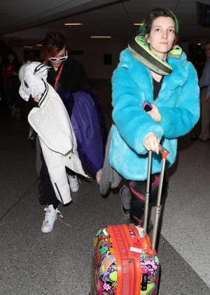 Bella and Dani Thorne - Arriving at LAX Airport in LA