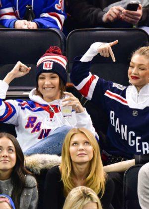 Bella and Gigi Hadid - Anaheim Ducks v New York Rangers ice hockey game in NYC