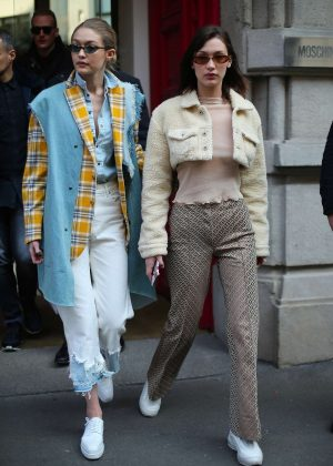 Bella and Gigi Hadid - Leaving the Moschino Fitting in Milan