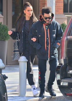 Bella Hadid and boyfriend The Weeknd - Leaving their apartment in New York