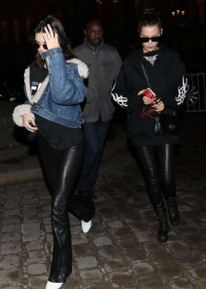 Bella Hadid and Kendall Jenner Leaving Hotel in Paris
