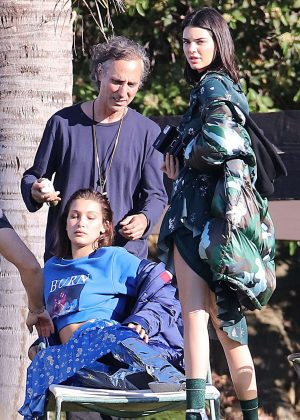 Bella Hadid and Kendall Jenner on set of a photoshoot in LA