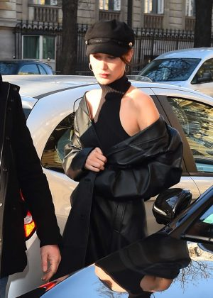 Bella Hadid - Arrives at a fitting for Givenchy in Paris
