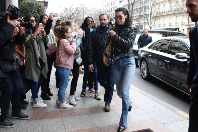 Bella Hadid: Arrives at her hotel -04