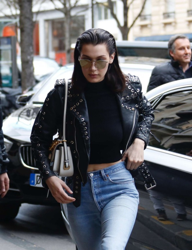 Bella Hadid - Arrives at her hotel in Paris