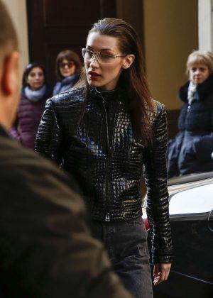 Bella Hadid - Arrives at Versace Headquaters in Milan