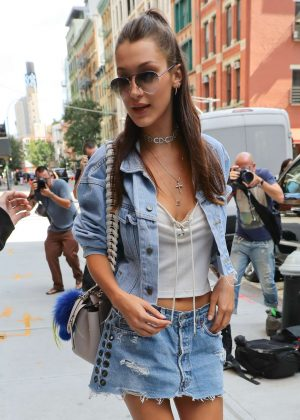 Bella Hadid in Jeans Short Skirt out in NYC