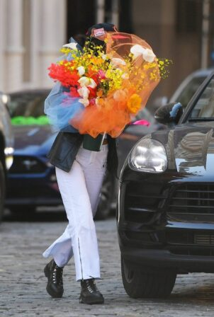 Bella Hadid - Arriving at her sister Gigi's birthday in New York