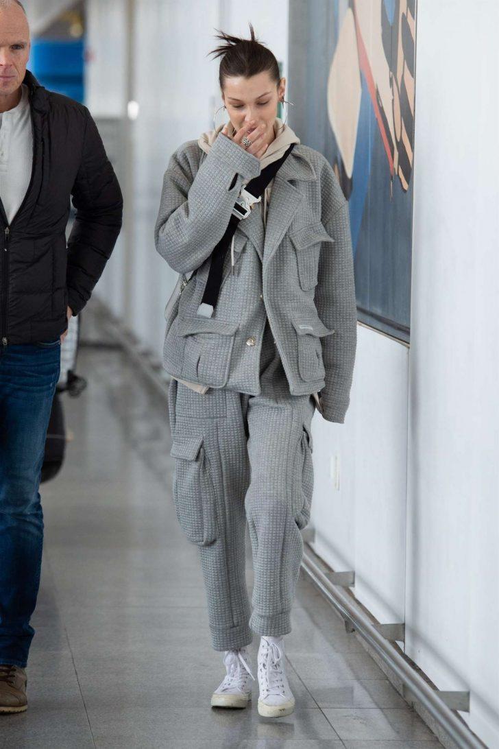 Bella Hadid: Arriving at JFK Airport -04