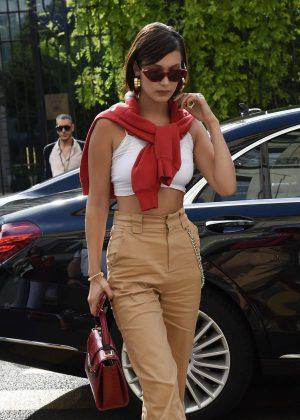 Bella Hadid Arriving at Miu-Miu's showroom in Paris